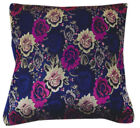 Bf008a Royal Blue Pink Rose Rayon Brocade Cushion Cover/Pillow Case*Custom Size