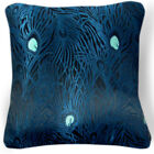 BL038a Navy Blue Peacock Rayon Brocade Cushion Cover/Pillow Case*Custom Size