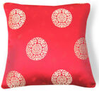 BL089a Gold Medallions Red Rayon Brocade Cushion Cover/Pillow Case*Custom Size