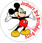 PERSONALISED BIRTHDAY MICKEY MOUSE STICKERS SEALS GIFT FAVOURS INVITES KIDCS25