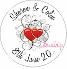 PERSONALISED WEDDING DAY DOUBLE HEARTS STICKER SEAL GIFT FAVOUR INVITE WDSC22