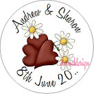 PERSONALISED WEDDING DAY HEART & DAISY STICKER SEAL GIFT FAVOUR INVITE WDSC26