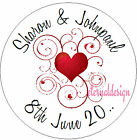 PERSONALISED WEDDING DAY RED SWIRL HEART STICKER SEAL GIFT FAVOUR INVITE WDSC29