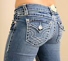 LA IDOL CLASSIC THREE RHINESTONE STUDDED LIGHT BLUE DENIM JEANS