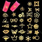 100pcs Golden Nail Art Tips Glitters Stickers Slices Plate DIY Decorations