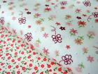 CREAM RED PINK floral bows kids 100% COTTON FABRIC for dress craft quilt bunting