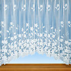 Grace - Floral Net Curtain Jardiniere Panel In White - Voile & Net Curtains