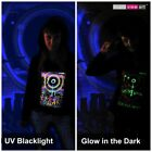 WOMENS HOOD T-SHIRT UV-Blacklight Glow-In-The-Dark Psychedelic Psy Goa Trance