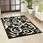 LARGE XL MODERN BLACK CREAM IVORY SWIRL CURL DAMASK DESIGN RUG