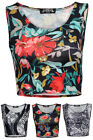 NEW WOMENS PRINTED SLEEVELESS LADIES ROUND NECK SHORT CROPPED VEST TOP SIZE 8-14