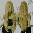 32 in. Long No-Bangs Light Gold Blonde Big Wavy Cosplay Wig Free Shipping 72A