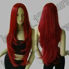32 in. Heat Resistant No-Bangs Dark Red Big Wavy Cosplay Wig Free Shipping 72A