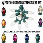 Novelty Lights C7 Bulb Outdoor Patio Christmas String Light Set -Green Wire- 25'
