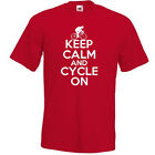 KEEP CALM AND CYCLE ON T-SHIRT Funny cycling bicycle cyclist