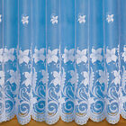 SUMMER FLORAL NET CURTAIN IN WHITE SOLD BY THE METRE