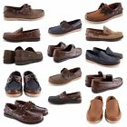 NEW MENS SLIP ON LACE UP COMFY MOCCASINS BOAT DECK CASUAL SHOES GENUINE LEATHER