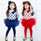 Baby Kids Girls Blue/Red Dots Top And Tutu Skirt Leggings Outfit Set 2-7 years