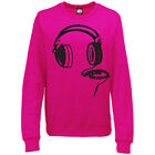 HEADPHONES WOMENS DJ MUSIC CLUB PRINTED SWEATSHIRT JUMPER