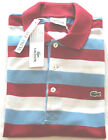 AUTHENTIC LACOSTE MEN'S SHORT SLEEVE SLIM FIT COTTON POLO SHIRT RED & BLUE HOOPS