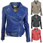 LADIES FAUX LEATHER FITTED BIKER JACKET WOMENS PVC BOMBER COAT 4 COLOURS UK 8-14