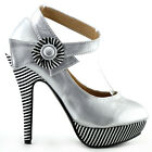 Ladies Candy Color Patent Ankle Strap Stripe EVE/Party Platform High Heels Shoes