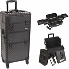 Purple Diamond 2 in 1 Interchangeable E-series Rolling Makeup Case 4 Wheel I3161