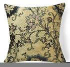 Wd45Aa Blue Flower on Tan Damask Chenille Flower Throw Cushion Cover/Pillow Case