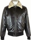 Mens Aviator Pilot leather Jacket (real fur collar) 'All Sizes' #P2