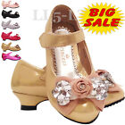 GIRLS PARTY SHOES RED WHITE PINK PEACH GOLD SILVER BLACK SIZES 7-11 12-3(Older)