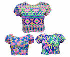 WOMENS MULTI COLOUR NEON AZTEC PRINT CROP TOP LADIES JERSEY STRETCH CASUAL TEE