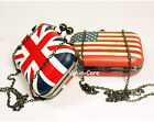 Union Jack British USA Flag Skull Knuckle Evening Clutch Purse Bag Party Handbag