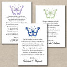 50 X Diy Butterfly Wedding Poem Cards For Your Invitations - Money Cash Gift