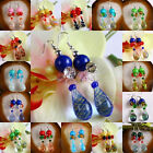 Lampwork Glass Beads Striped Spiral Teardrop Dangle Hook Ear Earrings Jewelry