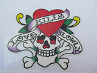 LOVE KILLS SKULL & HEART BONE GLITTER IRON ON SMOOTH PATCH FOR CLOTHES UK SELLER