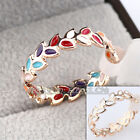 A1-R297 Fashion No Stone 4mm Band Multi-Color Glaze Ring 18KGP