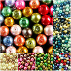 MIXED~ PINK / BEIGE / COCOA~ GLASS PEARL~ ROUND BEADS~OR ~CHOOSE MIXED SET 10 MM