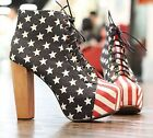 Sexy Womens Platform Pumps American Flag High Heels Lace-Up Ankle Boots Shoes