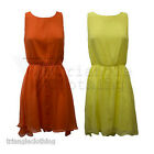 Ladies Womens Chiffon Layered Skater Dress Muscle Racer Back Maxi Skirt New