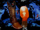 WILD WEST GENUINE OSTRICH SQUARE BROWN RODEO WESTERN COWBOY BOOT 2820307