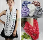 Lace Burnt-out Floral Print Infinity Loop Cowl Comfortable Eternity Scarf New