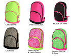 Quilted Backpack School Book Bag Kids Elementary Preschool Pink Lime Leopard USA