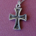 Pewter Iron Cross Pendant on Rhodium Plated Cable Chain Religion Christian