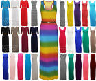 New Ladies Maxi Dress Stretch Racer Plain Stripe Womens Dresses UK 8 10 12 14