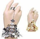 New Belly Dance Gold/Silver Coin Link Metal Ring To Wrist Bracelet Bangle