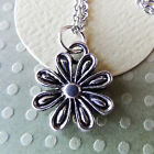 Flower Daisy Pewter Charm on Plated Chain Flower Power!