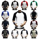 Men's Baseball 3/4 Sleeve T-Shirt Crew Fashion CAMO Sports Hipster Jersey Raglan image
