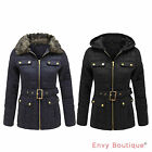 LADIES WOMENS QUILTED PADDED FUR COLLARED ZIP HOODED BELTED POCKET COAT JACKET