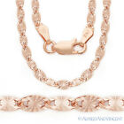 925 Sterling Silver & 14k Rose Gold GP 3mm Valentino Link Italian Chain Necklace