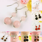 Rose Quartz/Carnelian/Black Agate/Tiger's Eye Gemstone Bead Dangle Hook Earrings