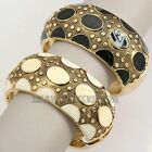 "Z2-A168 Fashion 1.4"" Width Glaze Dot Hinged 18K GP Bracelet Bangle Cuff"